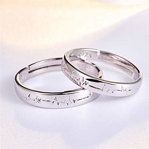 Sorella'z Couples Lovers Heartbeat Adjustable Silver Metal Ring Set for Men and Women