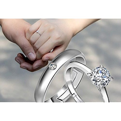 Dancing Girl Couple Rings Love Gifts Silver Alloy Size Adjustable Finger Rings for Couples for Lovers