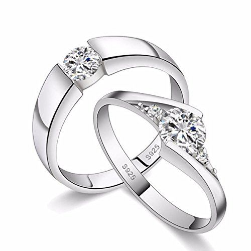 dc jewels King and Queen Sterling Silver Swarovski Crystal Adjustable Couple Love Ring for Men and Women