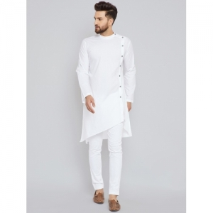 See Designs white cotton Solid Asymmetric Kurta
