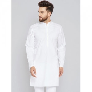 See Designs White cotton Solid Straight Kurta