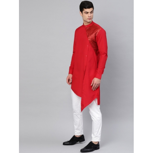 See Designs Red cotton Solid Straight Kurta