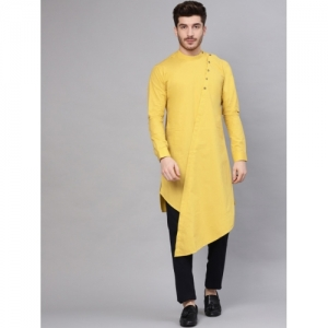 See Designs Yellow cotton Solid Straight Kurta