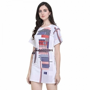 J B Fashion White Polyester Laycra Half Sleeves Wrap Dress
