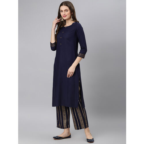 Khushal K Blue Rayon Solid Kurta With Palazzo Dupatta Set