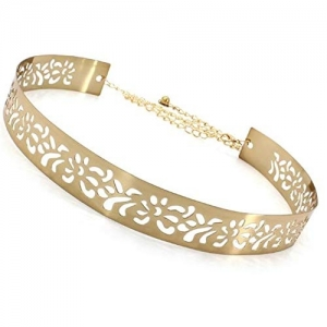 Satyam Kraft Golden Metal Skinny Belt
