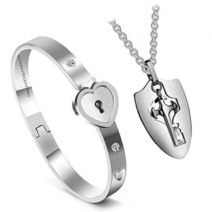 Impression Newest Design Heart Lock and Key Stainless Steel Couple Bracelet Pendant Necklace Set for Couples (Silver)