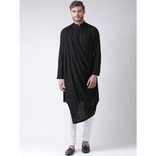 DEYANN Men Black Solid Straight Kurta