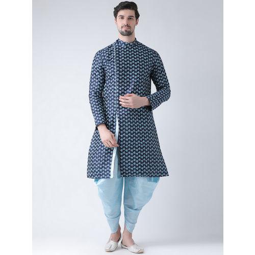 DEYANN Men Navy Blue Printed Dupion Silk Straight Kurta