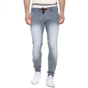 Urbano Fashion Light Grey Slim Fit Jogger Jeans Stretch