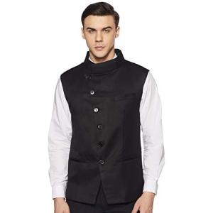 Cenizas Black Casual Nehru Style  Waistcoat  Slim fit  with 6 Button Cross Design