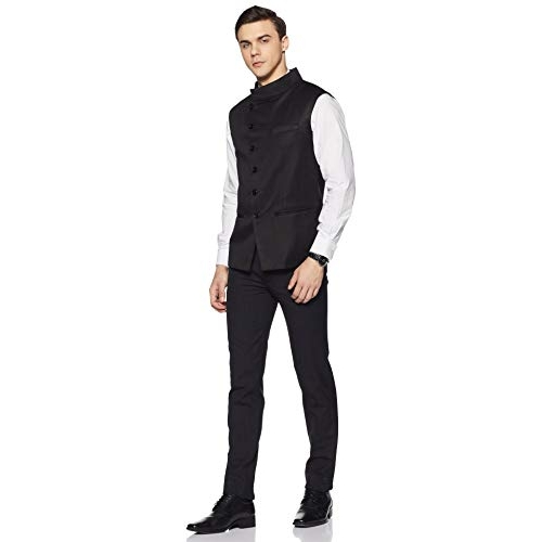 Cenizas Black Casual Nehru Style  Waistcoat  Slim fit  with 6 Button Cross Design