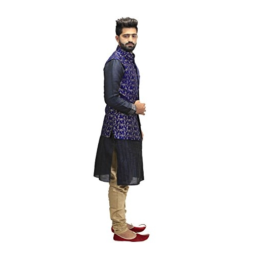 Veera Paridhaan Blue Banarasi Printed Party Wear Nehru Jacket