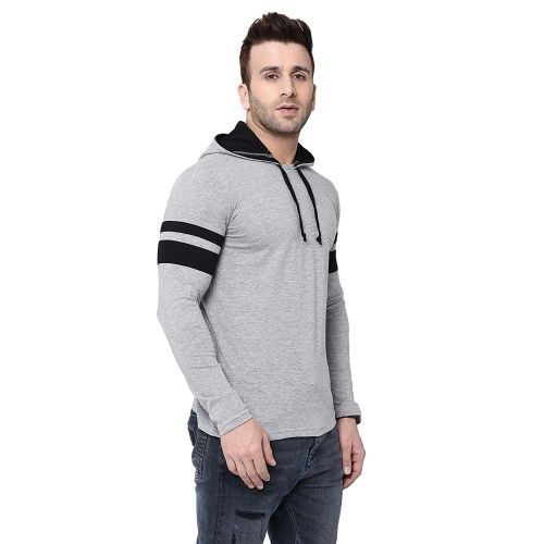 BI FASHION Grey Cotton Round Neck Full Sleeves Stripe T-Shirt