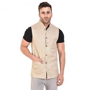 Rangoli Jaipur Biege Regular Fit Jute Modi Jacket/Nehru Jacket for Men
