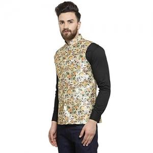 Ben Martin Yellow Cream Dupion Silk Flower Printed Nehru Jacket Waistcoat