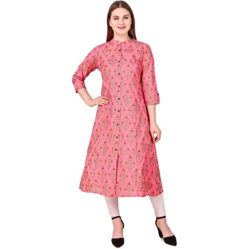 Jaypur Textile Women Block Print A-line Kurta(Pink)