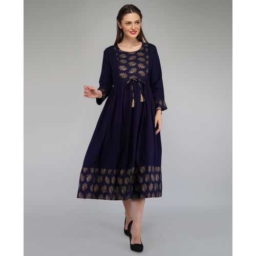 Metro Fashion Women Block Print Anarkali Kurta(Dark Blue, Gold)
