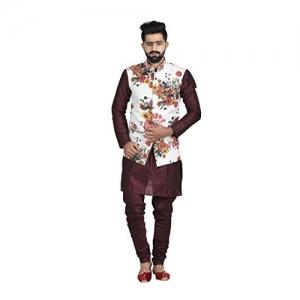 Veera Paridhaan White MultiColour  Flower Printed Cotton Jute Festive Wear  Nehru Jacket