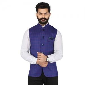 Amogue  Blue Cotton Festive Wear Checks Nehru jacket