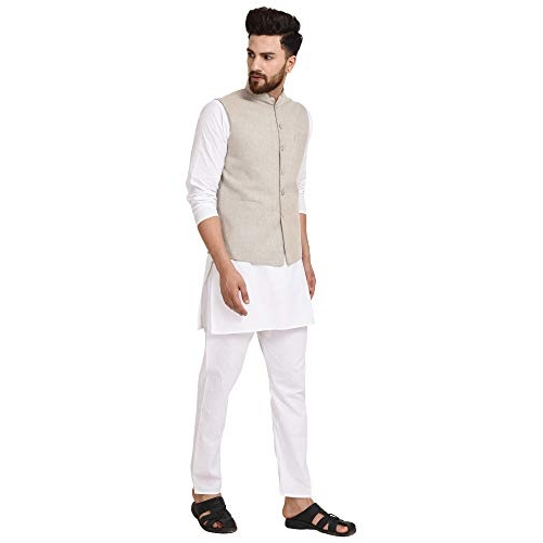 zoopME Beige Cotton Regular Fit Festive Wear/Casual Wear Nehru Jacket