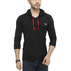 Lee Marts Black Cotton Solid Hooded V Neck T-Shirt
