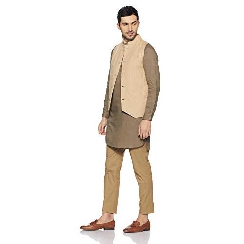 Nayak  Biege Cotton Designer Striped  Festive Wear Nehru Jacket