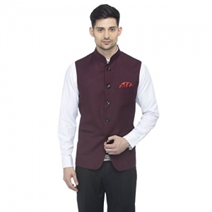 Favoroski  Maroon Bandhgala Sleeveless Ethnic Wear Slim Fit  Modi Jackets