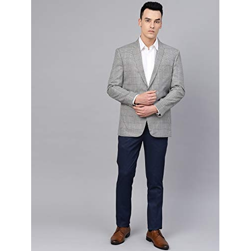 MANQ Grey Cotton Slim Fit Casual/Formal  Check Blazer