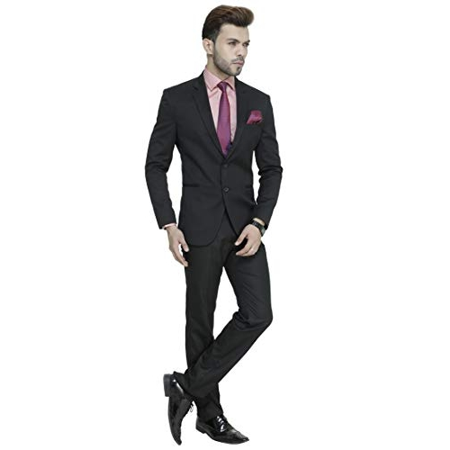 MANQ Black Cotton Solid Single Breasted Slim Fit Party/Formal Suit