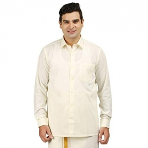 Generic RAMRAJ Mens Cream Cotton Full Shirt
