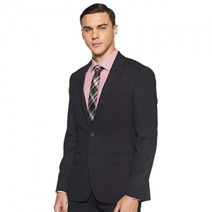 Raymond Black Polyester Notch Lapel Slim fit Business Casual Blazer