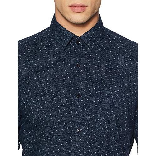 Diverse Navy Blue Cotton Printed Slim Fit Formal Shirt