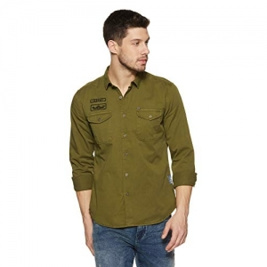 Amazon Brand - Inkast Denim Co. Green Cotton Slim Fit with Twill  Casual Shirt