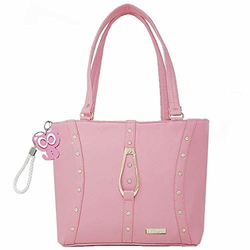 TYPIFY Leatherette PU Handbag with Kitty Keychain for Women and Girls College Office Bag, Stylish latest Designer Spacious Shoulder Bag Purse. Gift for Her