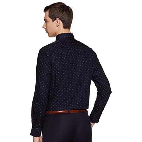 Diverse Navy Blue Cotton Printed Full Sleeve Formal Shirt