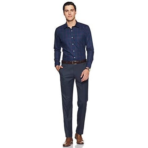 Amazon Brand - Symbol Blue Checkered Cotton Slim fit Formal Shirt