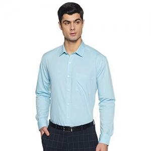 Amazon Brand - Symbol Sky Blue Cotton Solid Formal Shirt