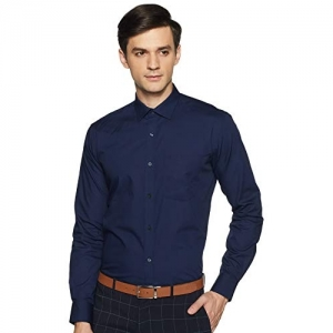 Park Avenue Blue Cotton Plain Regular fit Formal Shirt