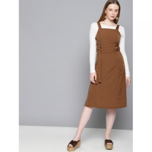 Tokyo Talkies Solid Brown Fit and Flare Dress