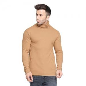 CHKOKKO Beige Cotton Winter Wear Full Sleeves Turtle Neck T-Shirts