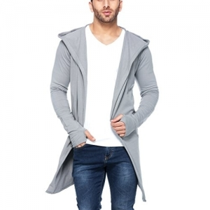 Tinted Grey Cotton Solid Full Sleeve Hooded Cardigan