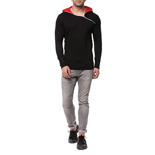 GRITSTONES Red & Black Cotton Hooded T-Shirt