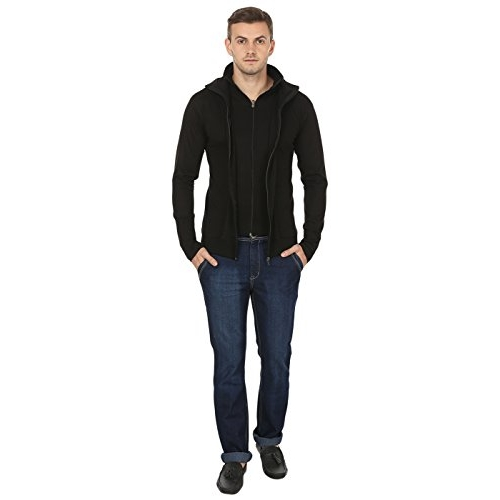 Black Collection Black Cotton Chain Hooded Slim Fit T-Shirt