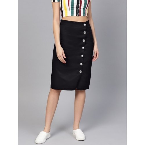 Popnetic Black Cotton Solid A-Line Skirt