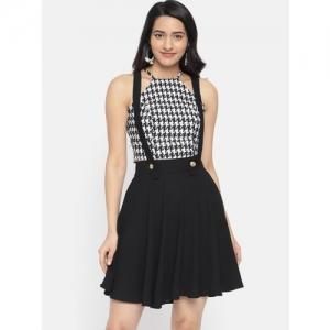 Roving Mode Solid Women A-line Black Skirt