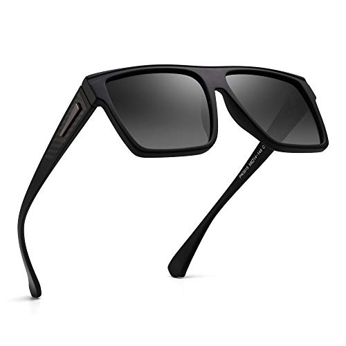JIM HALO Retro Polarized Sunglasses Flat Top Square Driving Glasses