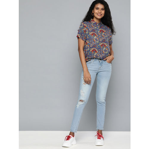 HERE&NOW Women Blue & Red Printed Shirt Style Top