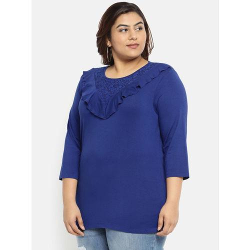 aLL Women Blue Solid Regular Top