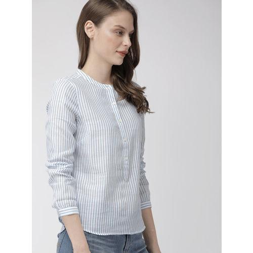 Denizen From Levis Women White & Blue Striped Shirt Style Top